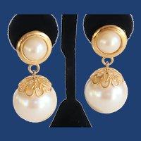 Vintage Costume HUGE Fun Dangling Faux Pearl Earrings
