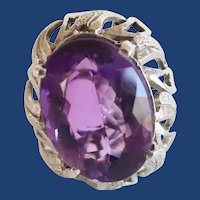 Antique Sterling Silver HUGE Faceted Synthetic 10Ct Amethyst Ring