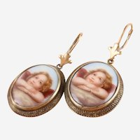 Victoria Hand Painted Porcelain Angel Portrait 14K Gold-Filled Dangle Earrings
