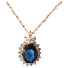 Fine 14K Y.G. Natural 3ct .Sapphire .71tcw Diamond Pendant
