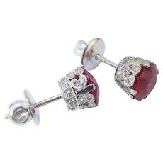 GORGEOUS Platinum Diamond Crown Ruby Studs