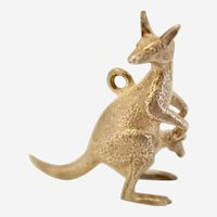 Vintage Sterling Silver 3D Mother Kangaroo with Baby Joey Charm/Pendant