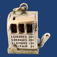 Vintage Sterling Silver Mechanical 3D Slot Machine Charm
