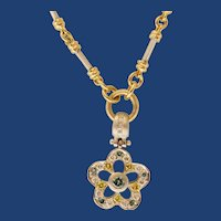 GORGEOUS  Multi-Colored 1.40tcw Diamonds Pendant With 14K Yellow/ White Gold Toggle Link Necklace