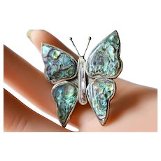 Vintage Mexico Sterling Silver Abalone Butterfly Brooch 70s'