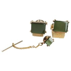 Vintage Gold Plated Green Tiger Eye SWANK Cufflinks with Tie Tack in Original Box