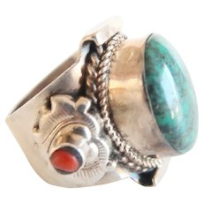 Vintage Sterling Silver Ring With Natural Turquoise and Coral 70s'Era