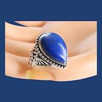 Vintage Sterling Silver Rich Lapis Lazuli Cabochon Ring