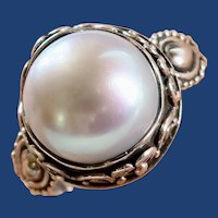 Sterling Silver 11.75mm Baroque Pearl Ladies Size 8 1/2 Ring