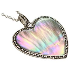 Vintage Sterling Silver Abalone Marcasite Heart Pendant With SS Chain
