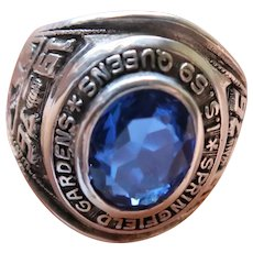 Vintage Sterling Silver Synthetic Sapphire 1976 Class Ring