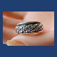 Vintage Sterling Silver Unisex Roller Ring Sz. 9 1/4