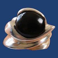 Vintage Sterling Silver Black Oval Onyx Modernist Ring