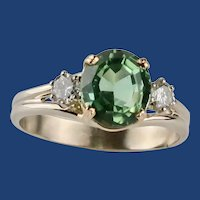 Estate 14K Yellow/White Gold Oval 3.00Ct Peridot With .30tcw Diamonds Cocktail Ring