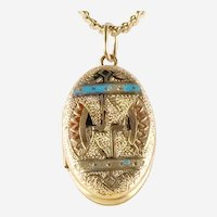 Antique Victorian Revival two-Picture Locket Gold-Filled With Enamel