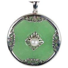 Vintage  Sterling Silver Jade Pearl Pendant