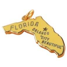 Vintage Gold-Filled  3-D Florida State Charm With Enamel