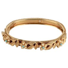 Lovely Vintage Gold-Plated Faux Turquoise and Faux Pearl Bracelet