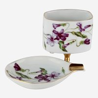 Lovely Vintage Porcelain Hand Painted Floral Cigarette Holder and Ashtray