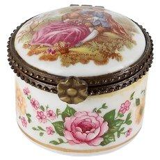Vintage French Limoges Porcelain Signed Fragonard Jewelry Trinket Box