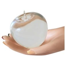 Estate Tiffany & Co Hallmarked Lead Crystal Apple Paperweight