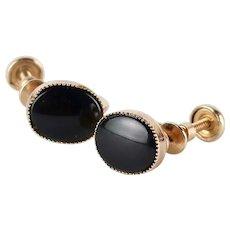 Vintage Old-New Stock 14K Gold-Filled Black Onyx Screw-Back Earrings