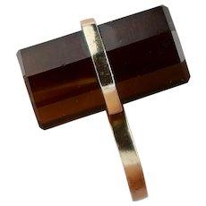 Vintage Sterling Silver Gold-Plated Octagon Barrel Topaz Ring