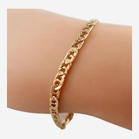 "Lovely Italian 14K Yellow Gold 7"" Textured Anchor Ladies Link Bracelet"