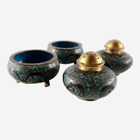 Beautiful Vintage Cloisonné  Salt and Pepper Shakers With matching Open Salt Cellars