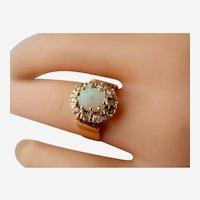 Stunning European Antique  18K Y.G. .70tcw Opal .20tcw Diamond Ring