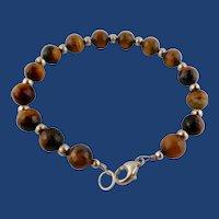 Lovely Ladies Faceted Tiger-Eye/Sterling Silver Bead Bracelet