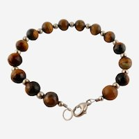 Lovely Ladies Faceted Tiger-Eye/Sterling Silver Bead Bracelet