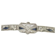 SPECTACULAR  Art Deco 14K WG Platinum Face Diamond Sapphire Fancy Lace Link Bracelet