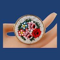 Vintage Micro-Mosaic Floral Gold-Tone Pill/Stash Box