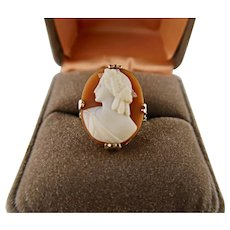 Old Vintage Cameo Filigree Sterling Silver Ring