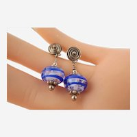 STUNNING Vintage Sterling Silver Pierced Post Hand-Blown Glass Dangle Earrings