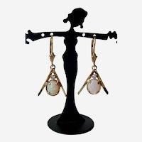 Exquisite 14K Y.G.  Precious 1.75tcw Opal/Diamond Dangling Earrings on Fleur-De-Lis French Backs