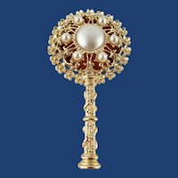 Elegant Bejeweled Pocket-Book Mirror With Faux Pearls and Rhinestones Early '60s