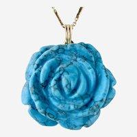 Captivating 14K y.g. Large Turquoise Rose Pendant