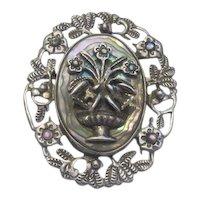 SALE! Estate Vintage HUGE Sterling Silver Abalone 3D Brooch/Pendant
