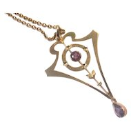 European Retro Rose Gold 9ct. & Amethyst Pendant With Chain 1940's Era!