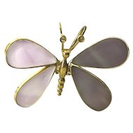 Spectacular!  18K Yellow Gold Amethyst & Diamond Moving Butterfly Pendant