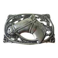 Vintage Sterling Silver Equestrian Brooch