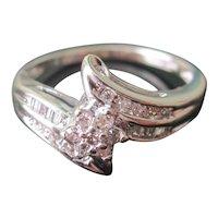 Estate 10K WG Diamond Cluster Cocktail Ring