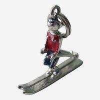 Vintage Sterling Silver Enameled 3D Female Ski Charm