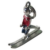 Vintage Sterling Silver Enameled 3D Female Ski Charm