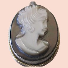 Delightful Vintage Abalone Cameo with Sterling Silver Chain