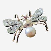 European Bug Brooch 18K Rose Gold Platinum Diamonds Rubies Cultured Pearl