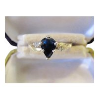 Sale Delightful Vintage 14K Two Tone .81ct Sapphire with .6tcw Diamond Ring