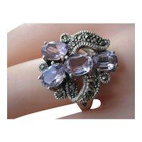 Vintage Sterling Silver Amethyst Marcasites Cluster Ring